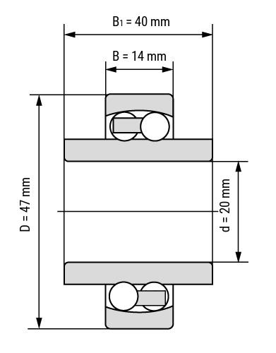 Pendelkugellager 112 mit verlängertem Innenring