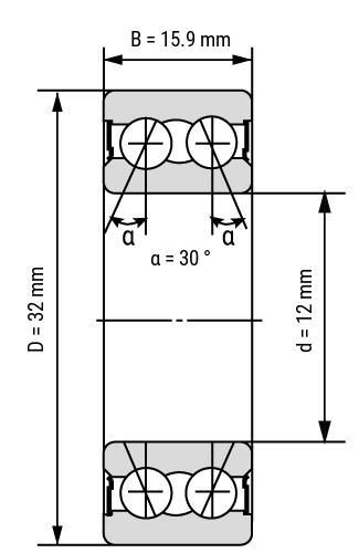 angular ball bearing 52 32 double row ZZ & 2RS