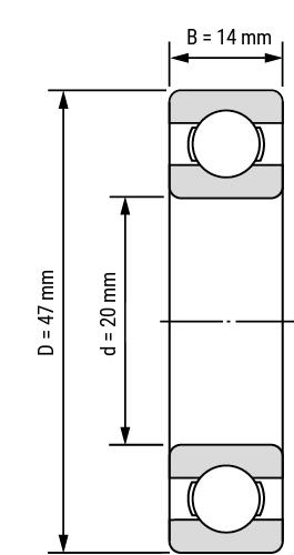 Rillenkugellager 62 offen Zeichnung