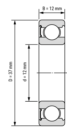 Rillenkugellager 63 RS Zeichnung