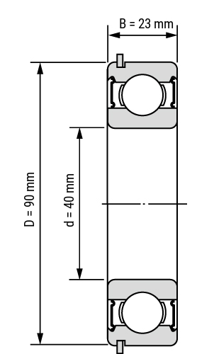 Rillenkugellager 63-NR 2RS Zeichnung