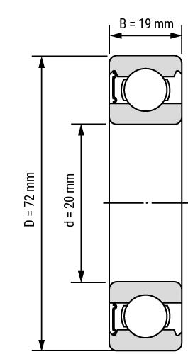 Rillenkugellager 64 RS Zeichnung