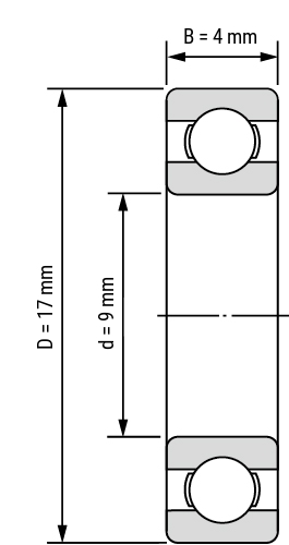 Miniatur Rillenkugellager-6-offen Zeichnung
