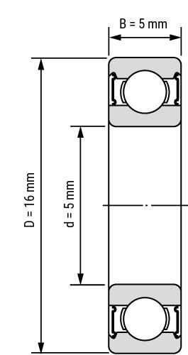 Keramik Hybrid Miniatur Rillenkugellager-2RS Zeichnung