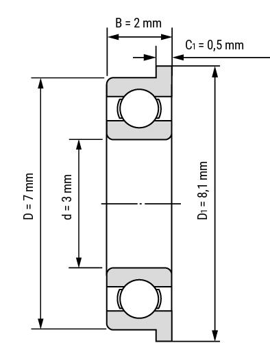 Flansch Miniatur Rillenkugellager F MF Zeichnung