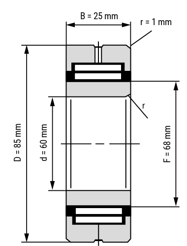 Nadellager NA49 mit Innenring offen Zeichnung