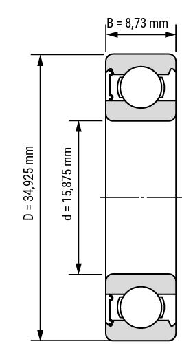 Rillenkugellager Zoll-Inch RS Zeichnung