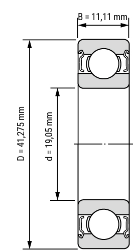 Rillenkugellager Zoll-Inch R ZZ Zeichnung