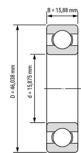 Rillenkugellager Zoll Inch RMS open Zeichnung