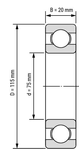 Rillenkugellager SS60 open Zeichnung