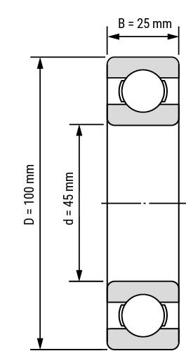Rillenkugellager SS63 offen Zeichnung