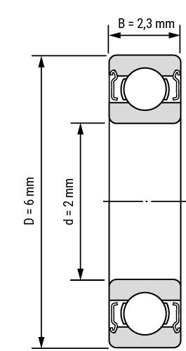Edelstahl Miniatur Rillenkugellager-offen Zeichnung