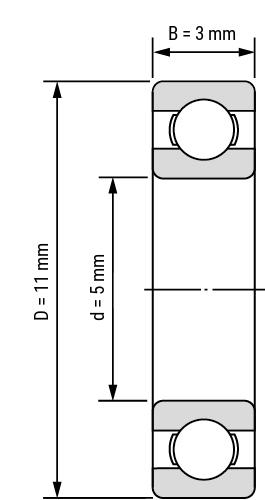 Keramik Hybrid Miniatur Rillenkugellager-offen Zeichnung