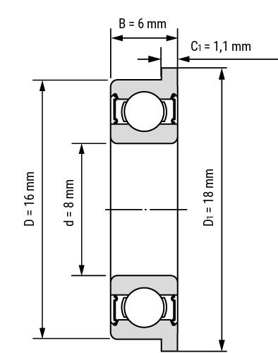 Edelstahl Flansch Miniatur Rillenkugellager SSM SSMF Zeichnung