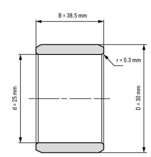 Technische Skizze 1: Innenring IR25x30x38.5 25x30x38.5 mm