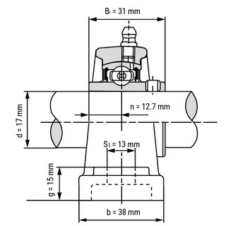 Technische Skizze 2: Pillow Block Housing Unit UCP203 - Shaft: 17 mm