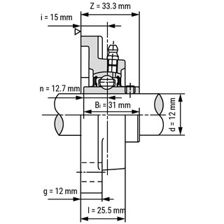 Technische Skizze 2: Flange Bearing / Flange Housing Unit UCF201 - Shaft: 12 mm