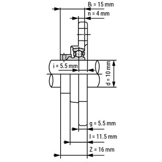 Technische Skizze 2: Stainless Steel Miniature Flange Housing Unit SS KFL000 - Shaft: 10 mm (Silver-Series)