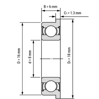 Technische Skizze 1: Stainless Steel Miniature Flanged Ball Bearing SS F 688 W6 2RS / SS F688 W6 2RS 8x16x6 mm