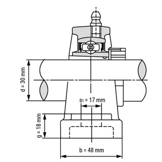 Technische Skizze 2: Pillow Block Housing Unit with Adapter Sleeve UKP207+H2307 - Shaft: 30 mm