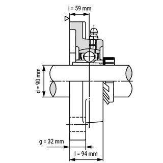 Technische Skizze 2: Flange Bearing / Flange Housing Unit with Adapter Sleeve UKF320+H2320 - Shaft: 90 mm