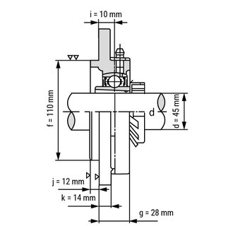 Technische Skizze 2: Flange Bearing / Flange Housing Unit With Adapter Sleeve UKFC-210+H2310 - Shaft: 45 mm