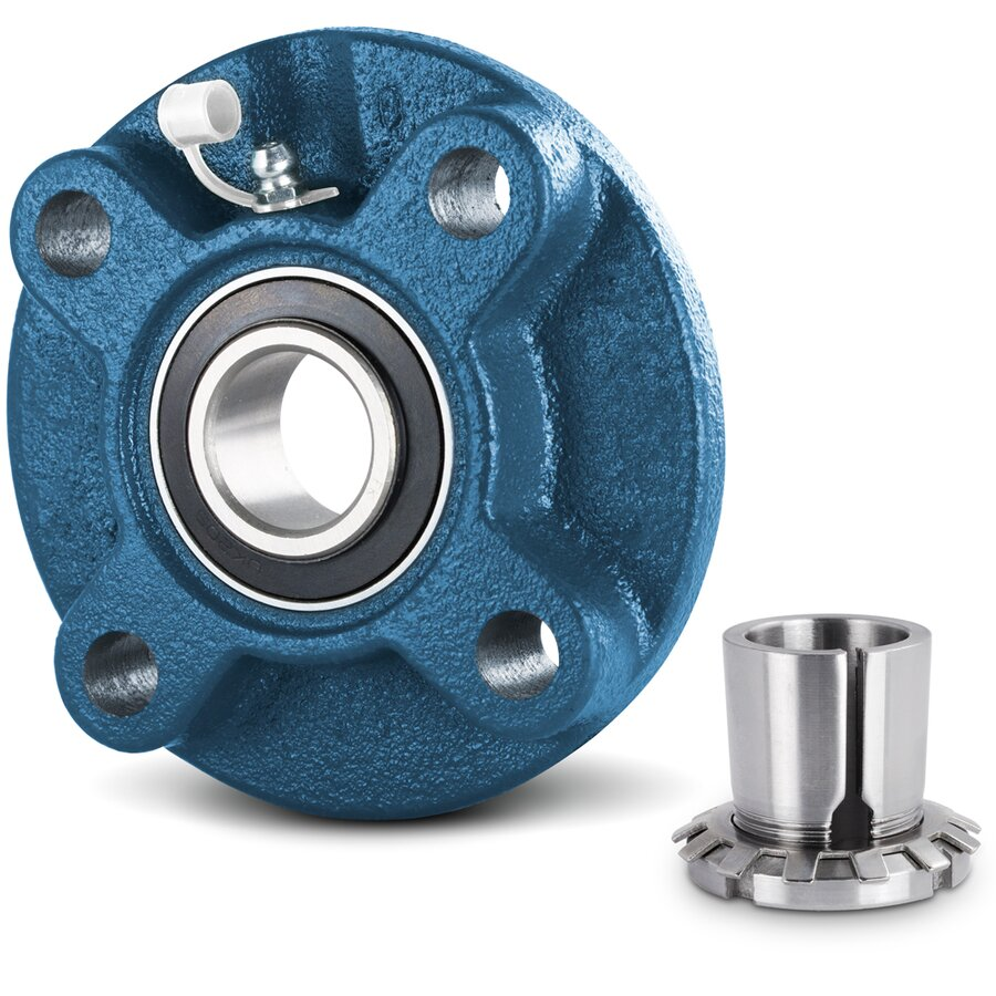 Flange bearing flange housing unit with adapter sleeve for House bearing