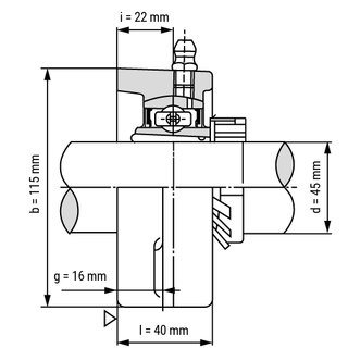 Technische Skizze 2: Flange Bearing / Flange Housing Unit With Adapter Sleeve UKFL-210+H2310 - Shaft: 45 mm