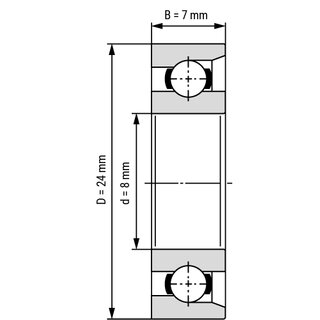 Technische Skizze 1: Single Thrust / Magneto Ball Bearing E8 / EN8 8x24x7 mm