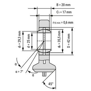 Technische Skizze 1: Rod End T.A.C.225 for Hydraulic Components - Requiring Maintenance 25x64x20 mm