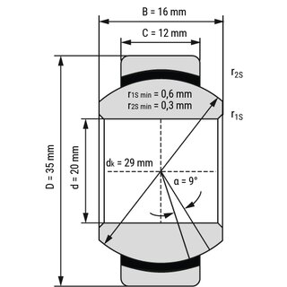 Technische Skizze 1: Radial Spherical Plain Bearing - Maintenance Free GE20C open 20x35x16 mm