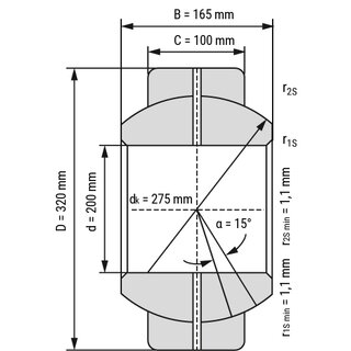 Technische Skizze 1: Radial Spherical Plain Bearing - Requiring Maintenance GEG200ES open 200x320x165 mm