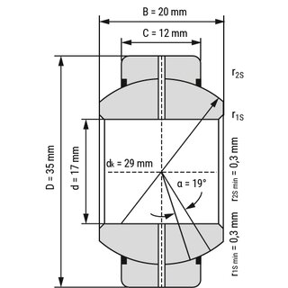 Technische Skizze 1: Radial-Spherical Plain Bearing - Requiring Maintenance GEG17ES 2RS 17x35x20 mm