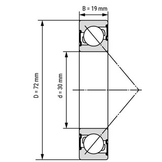Technische Skizze 1: Angular Ball Bearing 7306 B open 30x72x19 mm